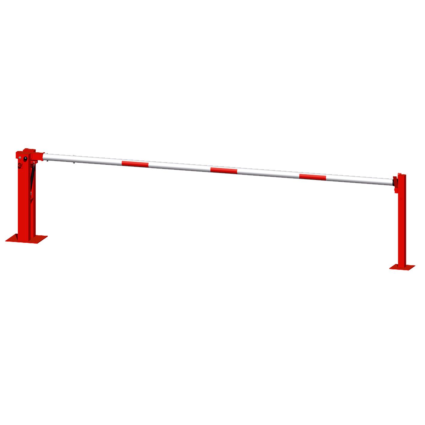 Wegeschranken 3m mit fester Auflagestütze  und Bodenplatte zum Aufdübeln, mit Dreikantverschluß  Sta