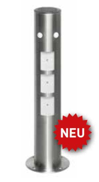 Edelstahl Absperrpfosten   Ø 102 x 450 mm   mit Leuchtfeld