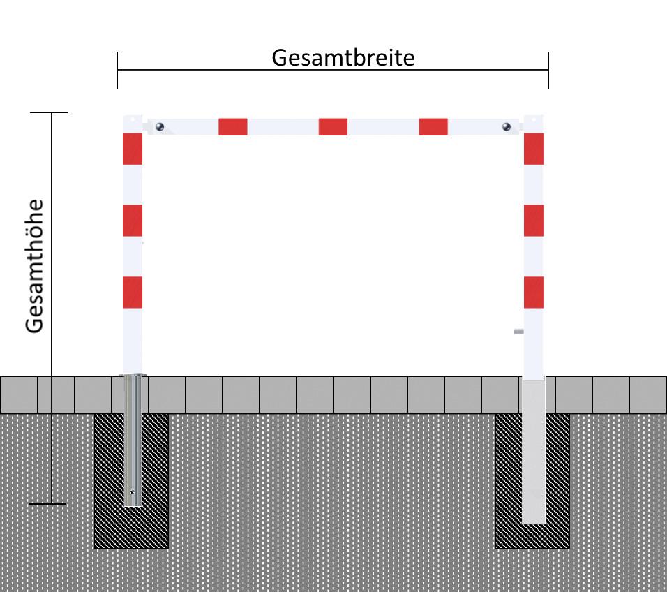 Wegesperre, 1.5 bis 3 m,  mit Dreikantverschluss, schwenkbar