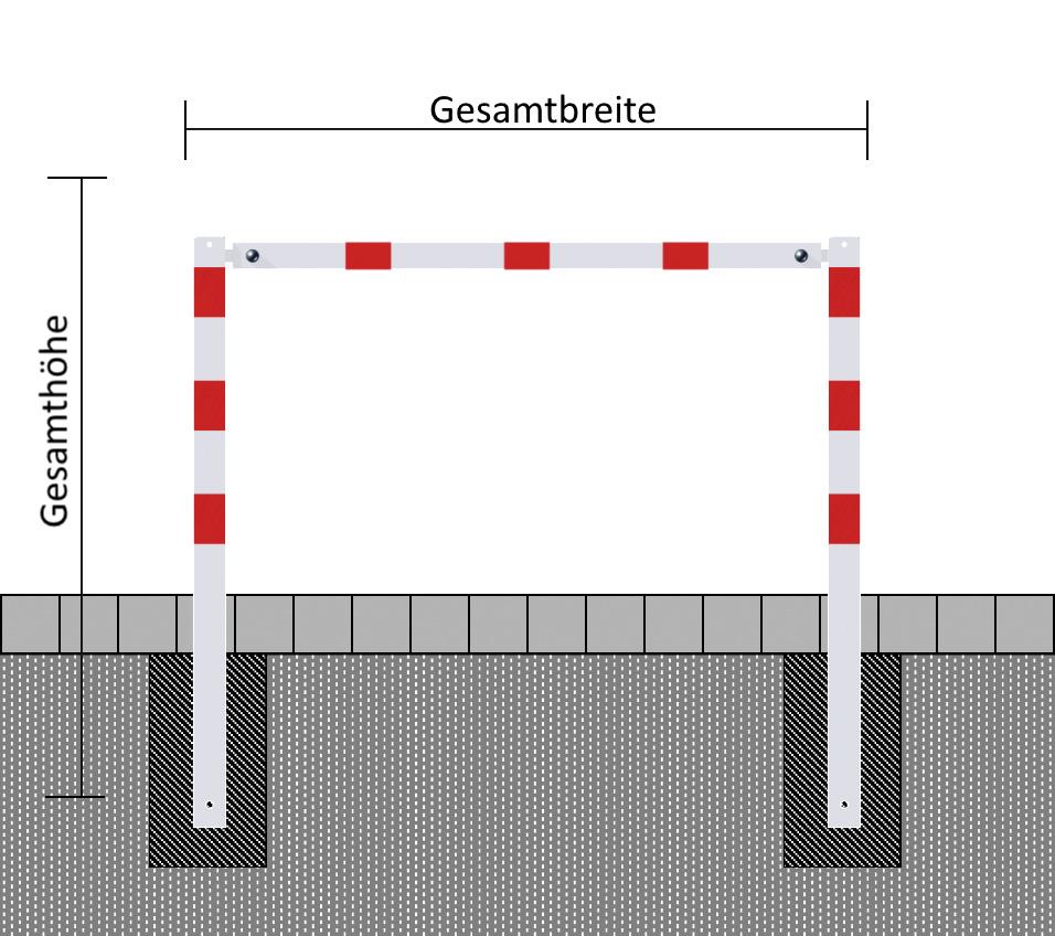 Wegesperre, 1.500 mm, feststehend,   feuerverzinkt, ohne Knieholm