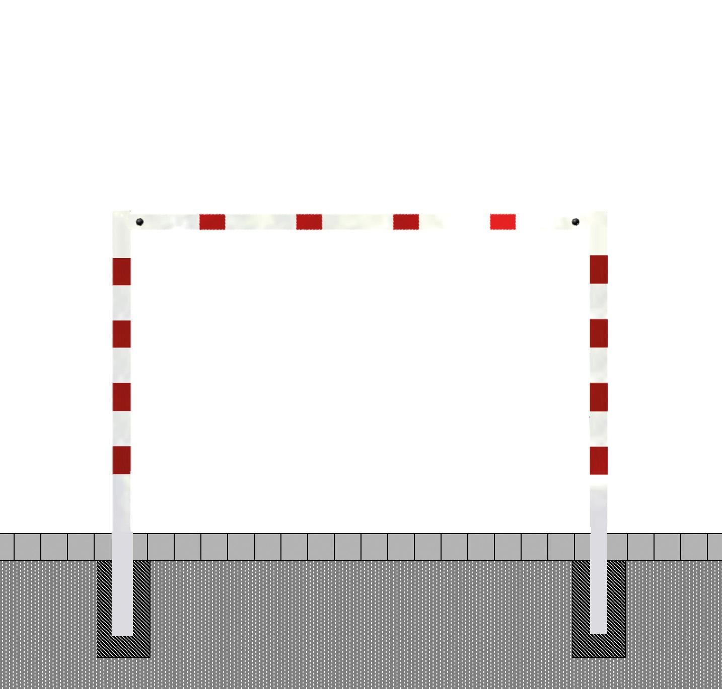 Höhenbegrenzer -variabel einstellbar-   zum Einbetonieren, 2 Standpfosten Ø102mm,  Querrohr aus Alum
