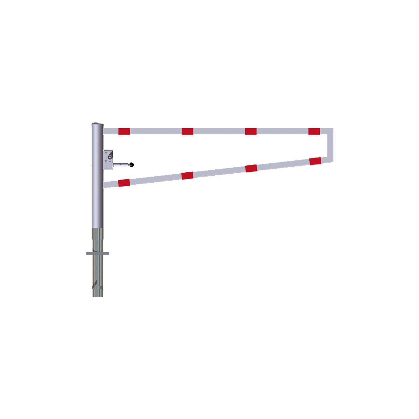 Drehbare Wegesperre, mit selbsteinrastender Verriegelung,  1.500 mm, Dreikantverschluß,  Drehpfosten